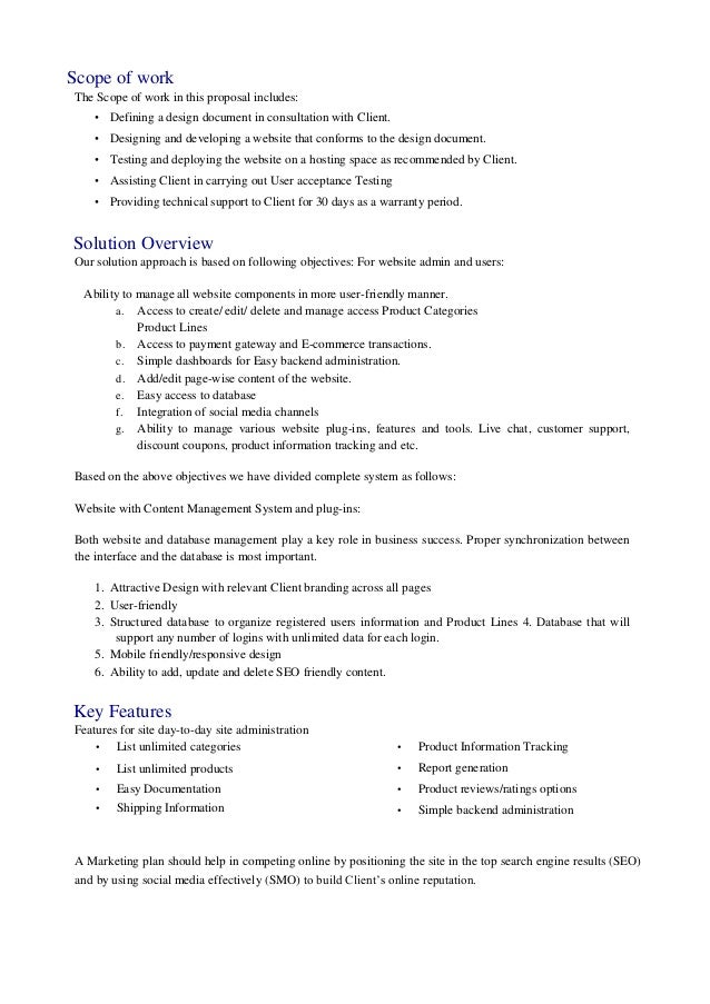 Solution proposal document gallery project proposal for It solution proposal template