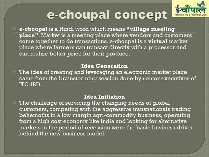 itc e choupal case study harvard Empowerment case studies: e-choupal: itc's rural networking project 2 the e-choupal system was introduced by itc in june 2000 a choupal was converted.
