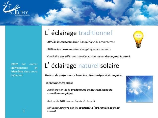 1 L'éclairage traditionnel ECHY fait entrer performance et bien-être dans votre bâtiment 40% de la consommation énergétiqu...