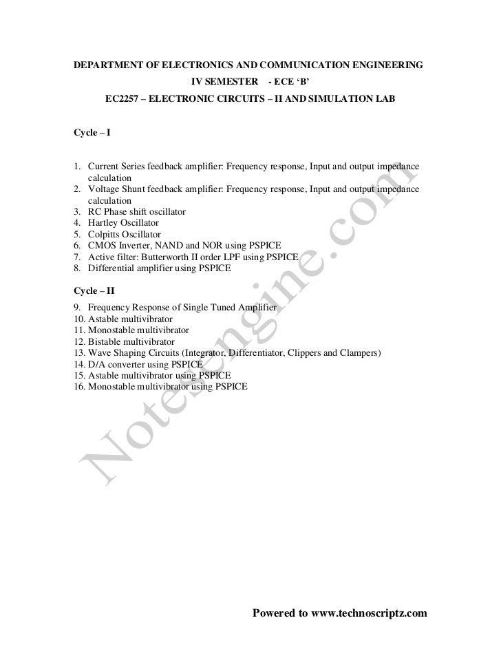 DEPARTMENT OF ELECTRONICS AND COMMUNICATION ENGINEERING                             IV SEMESTER        - ECE 'B'       EC2...