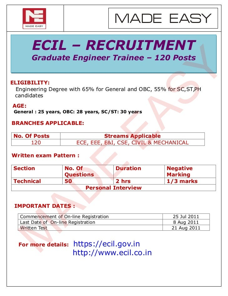 MADE EASY        ECIL – RECRUITMENT        Graduate Engineer Trainee – 120 Posts                                          ...