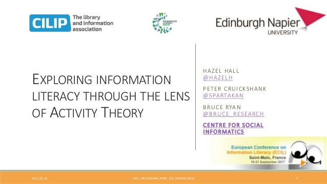 EXPLORING INFORMATION LITERACY THROUGH THE LENS OF ACTIVITY THEORY HAZEL HALL @HAZELH PETER CRUICKSHANK @SPARTAKAN BRUCE R...