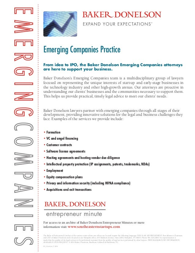 From idea to IPO, the Baker Donelson Emerging Companies attorneys are here to support your business. Baker Donelson's Emer...