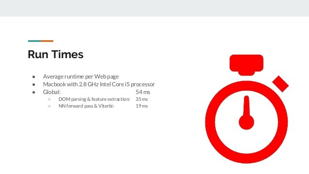 Run Times ● Average runtime per Web page ● Macbook with 2.8 GHz Intel Core i5 processor ● Global: 54 ms ○ DOM parsing & fe...