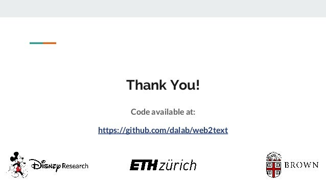 Thank You! Code available at: https://github.com/dalab/web2text