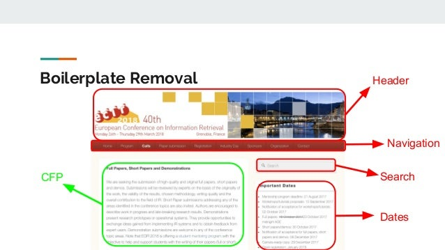 Boilerplate Removal CFP Header Navigation Search Dates