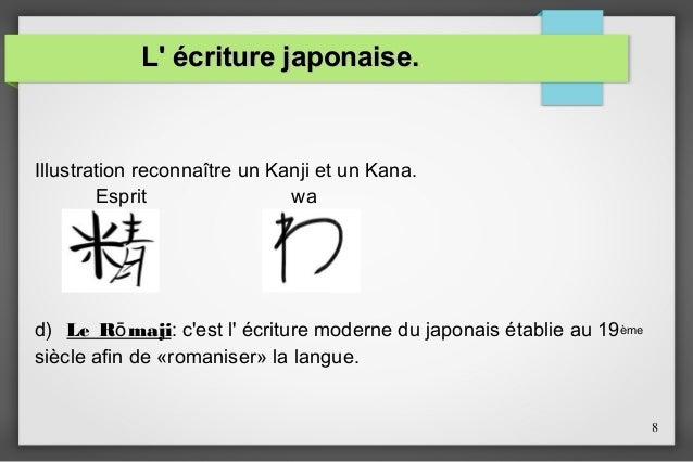 L' écriture japonaise.  Illustration reconnaître un Kanji et un Kana. Esprit wa  d) Le Rō maji: c'est l' écriture moderne ...