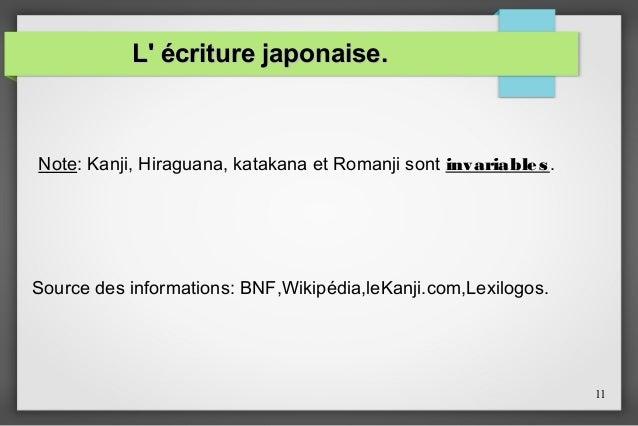 L' écriture japonaise.  Note: Kanji, Hiraguana, katakana et Romanji sont invariables .  Source des informations: BNF,Wikip...