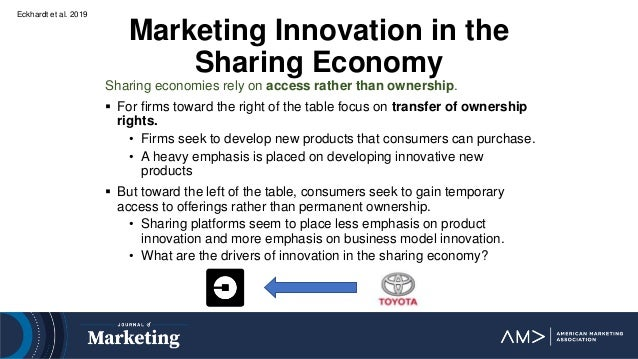 Eckhardt et al. 2019 Marketing Innovation in the Sharing Economy Sharing economies rely on access rather than ownership. ...
