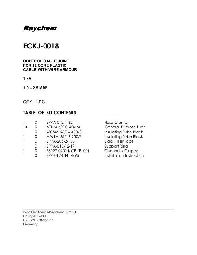 RaychemRaychemRaychem ECKJ-0018 CONTROL CABLE JOINT FOR 12 C…