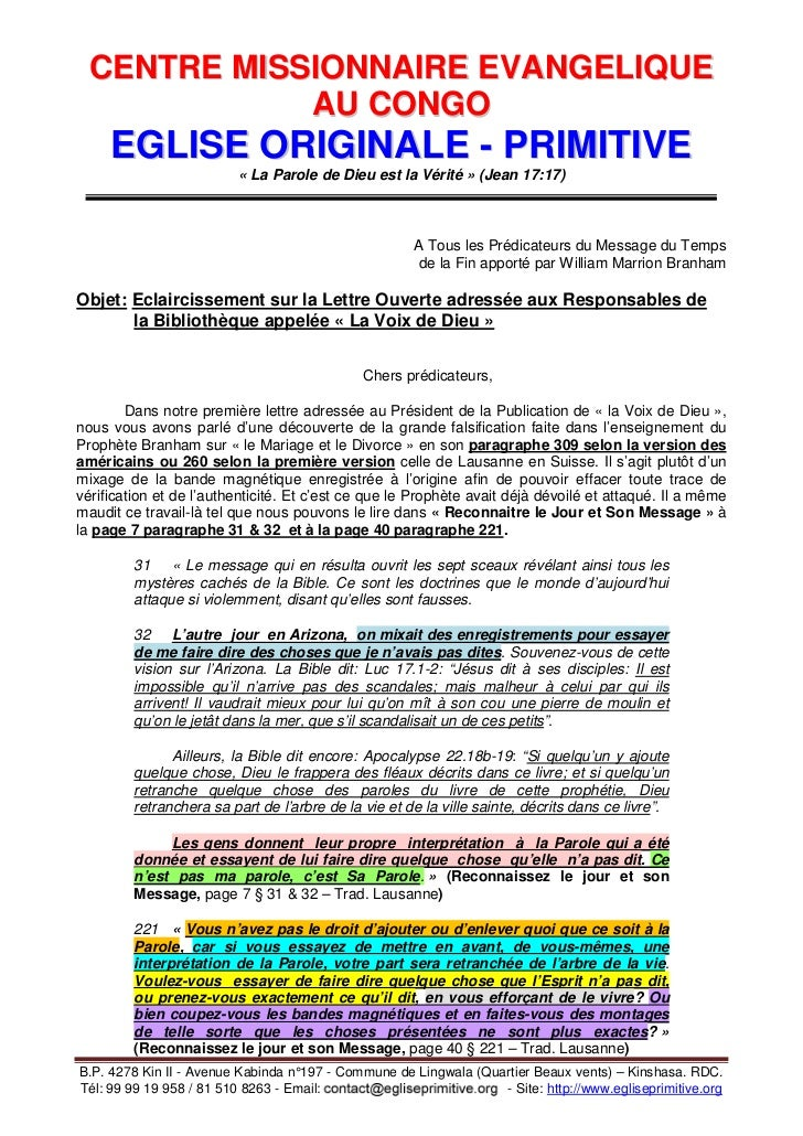CENTRE MISSIONNAIRE EVANGELIQUE             AU CONGO     EGLISE ORIGINALE - PRIMITIVE                         « La Parole ...