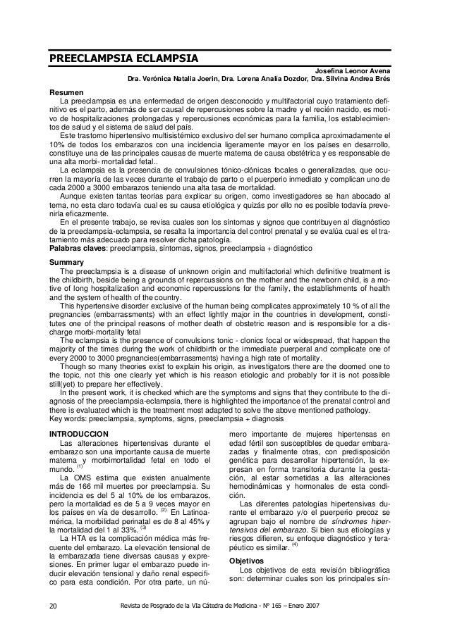 Revista de Posgrado de la VIa Cátedra de Medicina - N° 165 – Enero 200720 PREECLAMPSIA ECLAMPSIA Josefina Leonor Avena Dra...