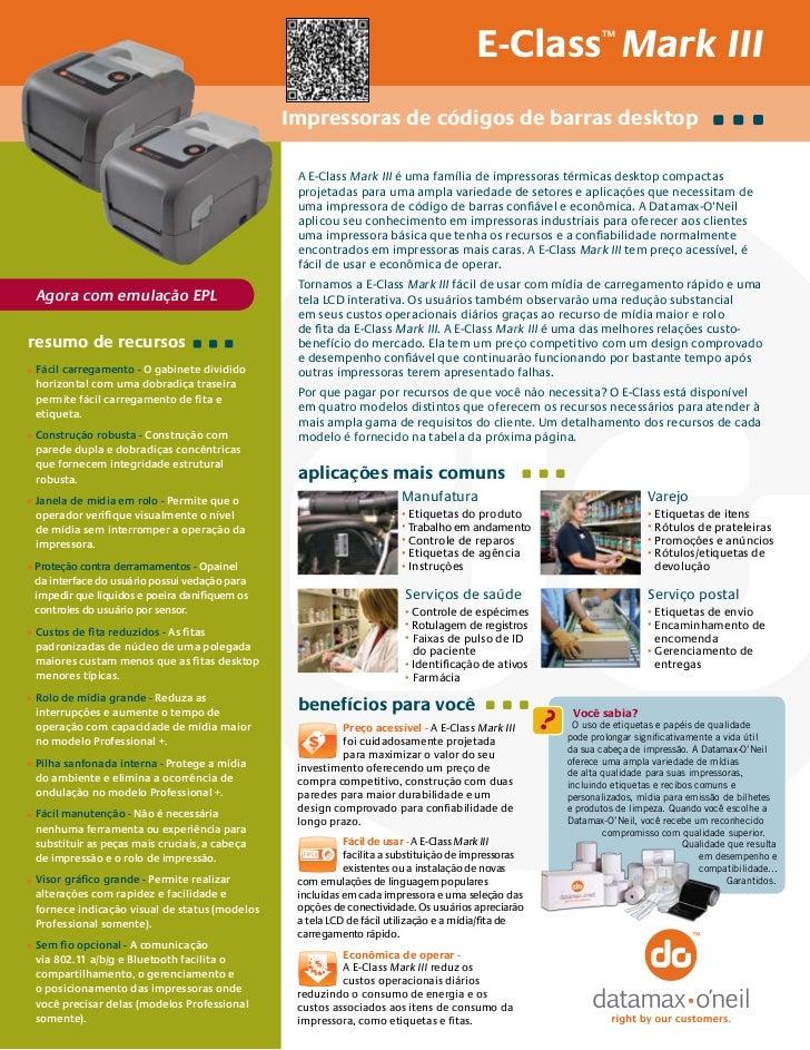 E-Class Mark III          ™                                                Impressoras de códigos de barras desktop       ...