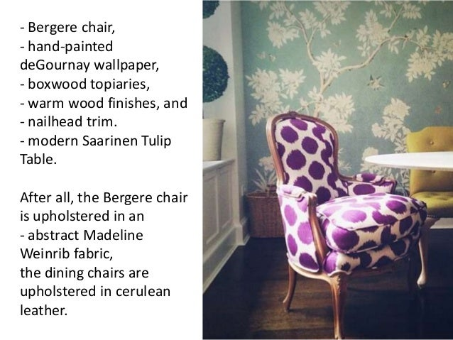 - Bergere chair, - hand-painted deGournay wallpaper, - boxwood topiaries, - warm wood finishes, and - nailhead trim. - mod...