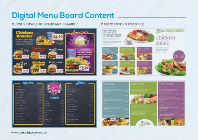 fish and chip shop menu template - digital menu boards guide 2014