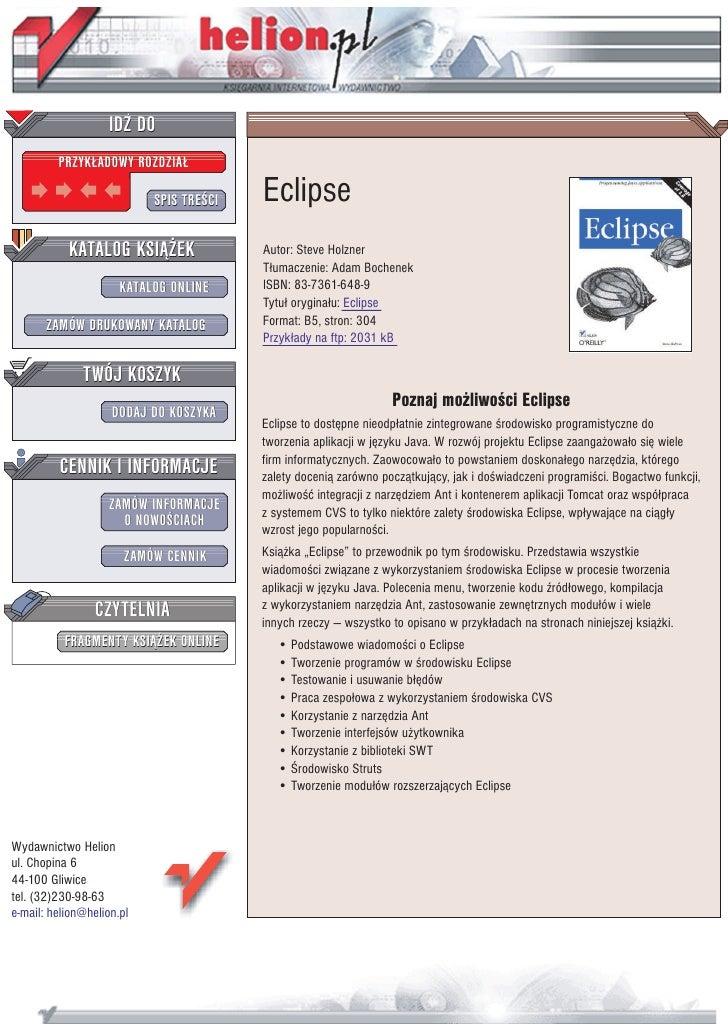 IDZ DO          PRZYK£ADOWY ROZDZIA£                             SPIS TRE CI   Eclipse            KATALOG KSI¥¯EK         ...