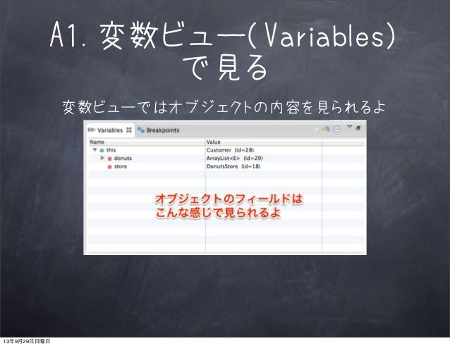 A1.変数ビュー(Variables) で見る 変数ビューではオブジェクトの内容を見られるよ 13年9月29日日曜日