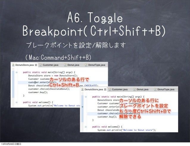 A6.Toggle Breakpoint(Ctrl+Shift+B) ブレークポイントを設定/解除します (Mac:Command+Shift+B) 13年9月29日日曜日