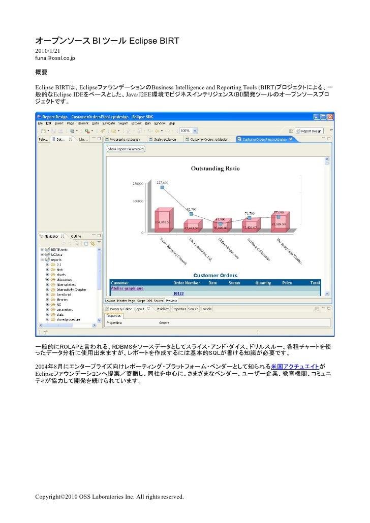BI            Eclipse BIRT 2010/1/21     Eclipse BIRT     Eclipse                   Business Intelligence and Reporting To...