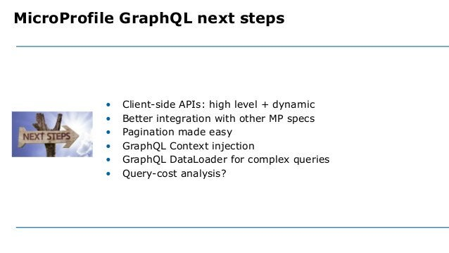 • Client-side APIs: high level + dynamic • Better integration with other MP specs • Pagination made easy • GraphQL Context...