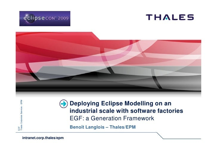 Deploying Eclipse Modelling on an                            industrial scale with software factories                     ...