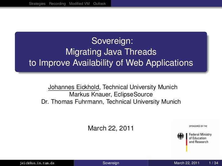 Strategies Recording Modified VM Outlook                    Sovereign:             Migrating Java Threads    to Improve Ava...