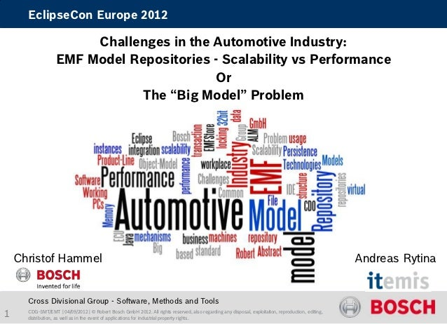 EclipseCon Europe 2012                        Challenges in the Automotive Industry:                   EMF Model Repositor...