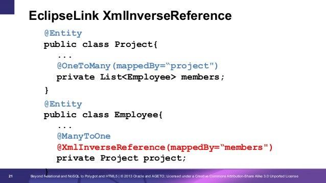 "EclipseLink XmlInverseReference  21  @Entity public class Project{ ... @OneToMany(mappedBy=""project"") private List<Employe..."