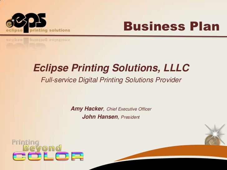 A Sample Digital Printing Shop Business Plan Template