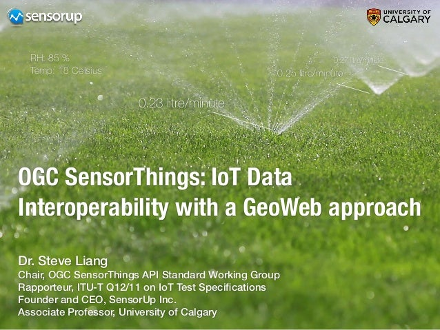 5 OGC SensorThings: IoT Data Interoperability with a GeoWeb approach 0.23 litre/minute 0.25 litre/minute 0.27 litre/minute...