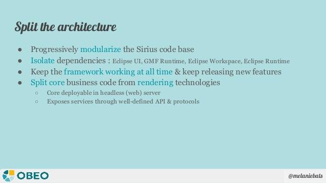 @melaniebats Split the architecture ● Progressively modularize the Sirius code base ● Isolate dependencies : Eclipse UI, G...