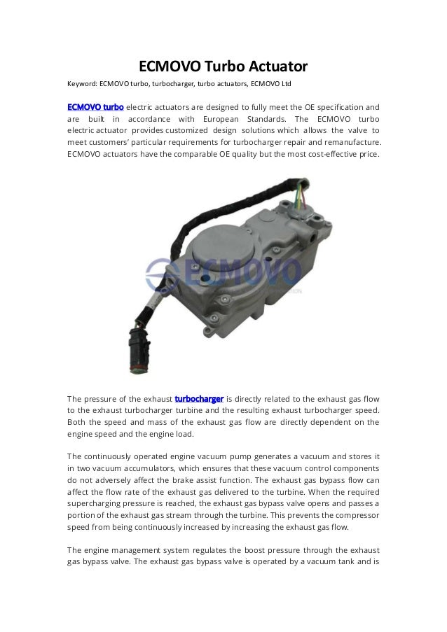 Ecmovo turbo actuator sacer ltd