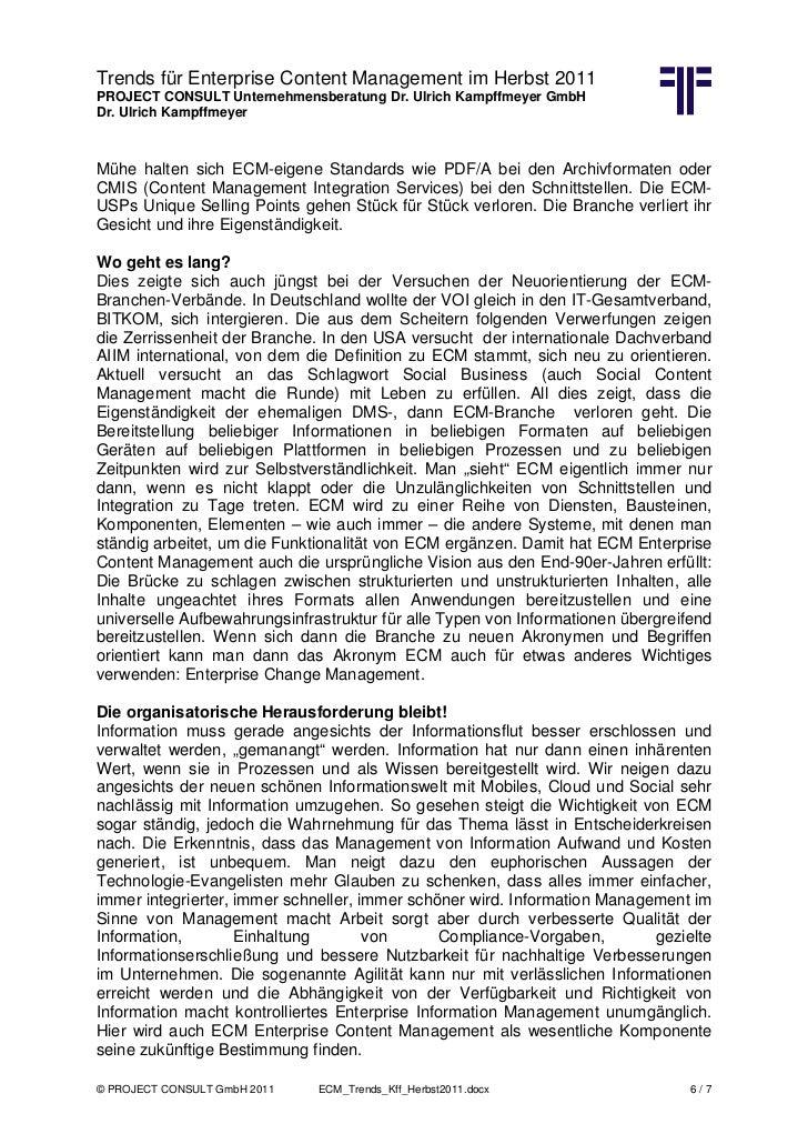 Trends für Enterprise Content Management im Herbst 2011PROJECT CONSULT Unternehmensberatung Dr. Ulrich Kampffmeyer GmbHDr....