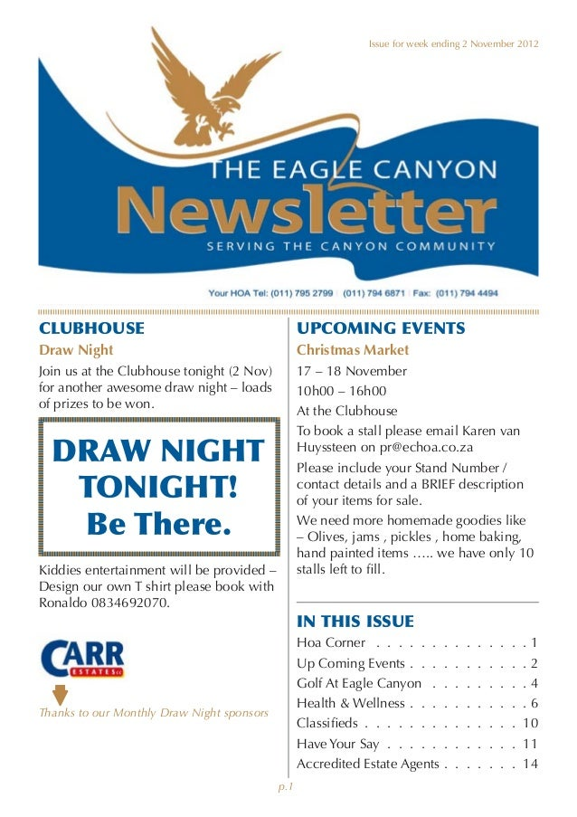 Attractive ... Community Newsletter   Example. Issue For Week Ending 2 November  2012CLUBHOUSE ...  Example Of A News Letter