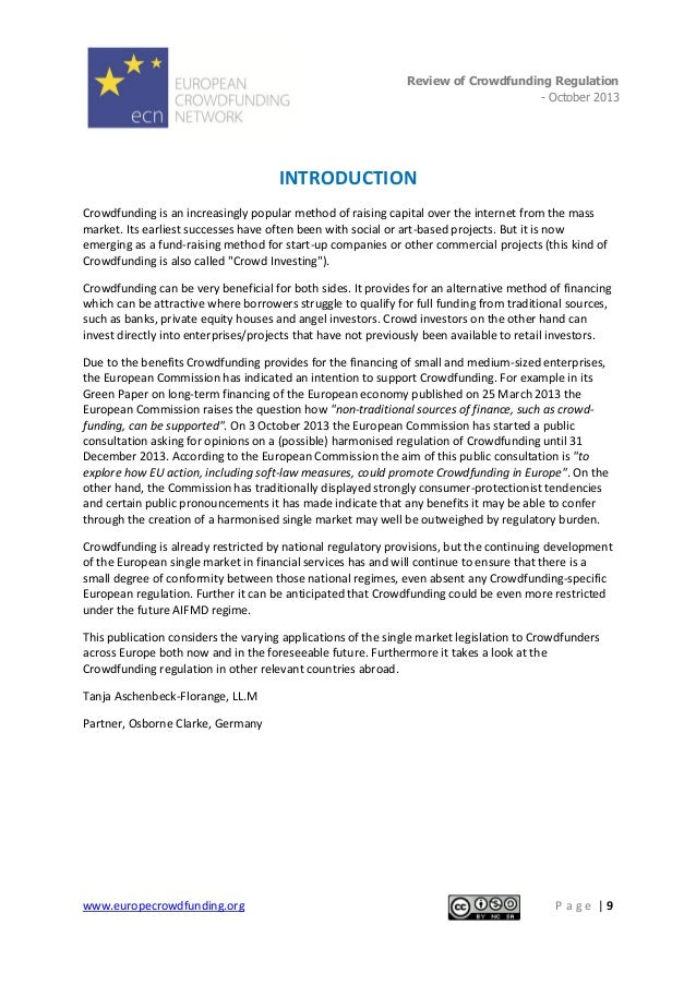 Review of Crowdfunding Regulation - October 2013  .  INTRODUCTION Crowdfunding is an increasingly popular method of raisin...
