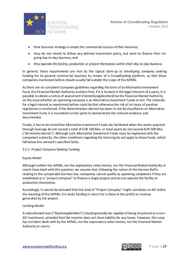 Review of Crowdfunding Regulation - October 2013  .   their business strategy is simply the commercial success of their b...