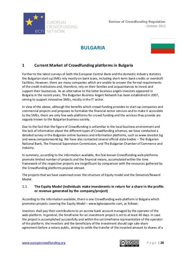 Review of Crowdfunding Regulation - October 2013  .  BULGARIA 1  Current Market of Crowdfunding platforms in Bulgaria  Fur...