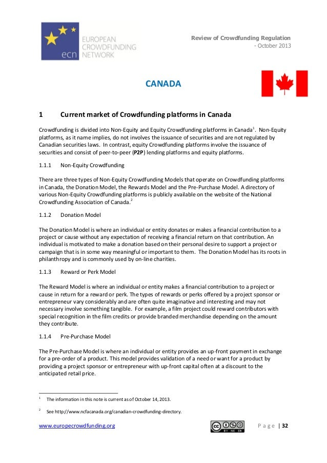 Review of Crowdfunding Regulation - October 2013  .  CANADA 1  Current market of Crowdfunding platforms in Canada  Crowdfu...