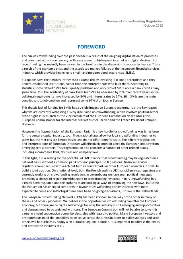 Review of Crowdfunding Regulation - October 2013  .  FOREWORD The rise of crowdfunding over the past decade is a result of...