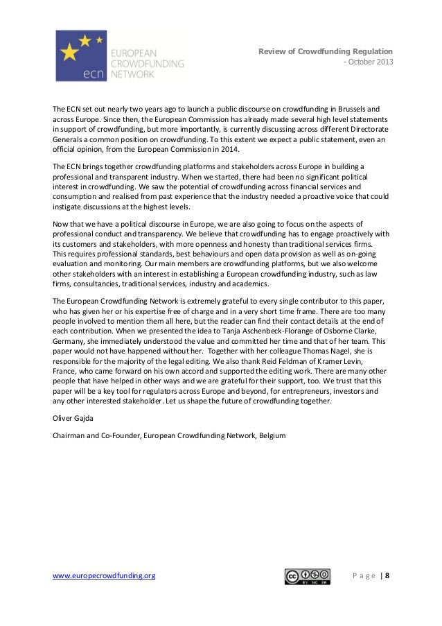Review of Crowdfunding Regulation - October 2013  . The ECN set out nearly two years ago to launch a public discourse on c...