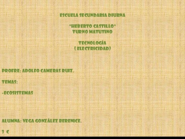 Escuela Secundaria Diurna<br />*Heberto Castillo*<br />Turno Matutino<br />Tecnología<br />( Electricidad)<br />Profre: Ad...