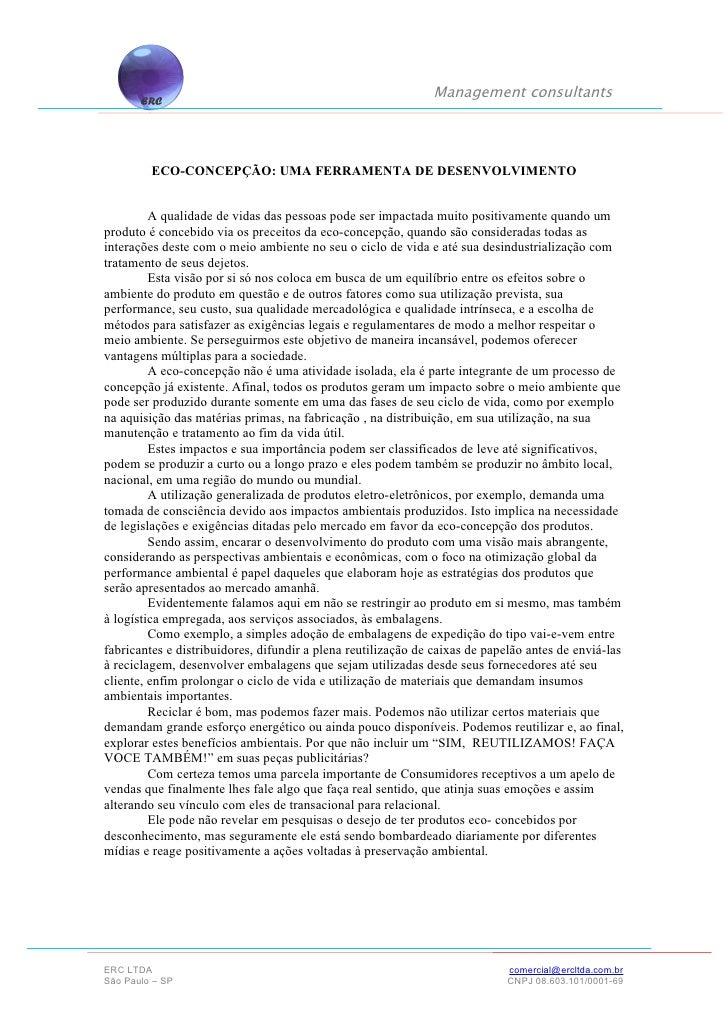 Management consultants                ECO-CONCEPÇÃO: UMA FERRAMENTA DE DESENVOLVIMENTO           A qualidade de vidas das ...