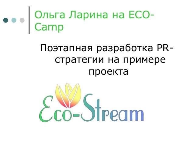 Ольга Ларина на ECO- Camp Поэтапная разработка PR- стратегии на примере проекта