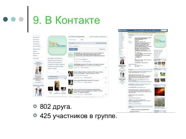 9. В Контакте  802 друга.  425 участников в группе.
