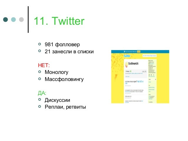 11. Twitter  981 фолловер  21 занесли в списки НЕТ:  Монологу  Массфоловингу ДА:  Дискуссии  Реплаи, ретвиты