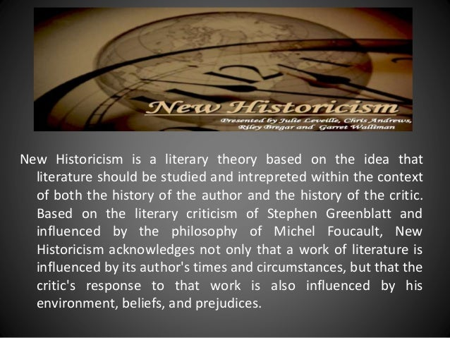 "thesis on new historicism Most importantly, a good thesis statement makes a statement after all, it's called a thesis statement for a reason ""this is an interesting statement"" you want your reader to think."