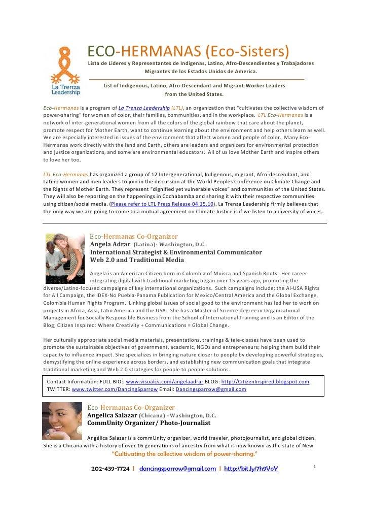 ECO-HERMANAS (Eco-Sisters)                   Lista de Lideres y Representantes de Indigenas, Latino, Afro-Descendientes y ...