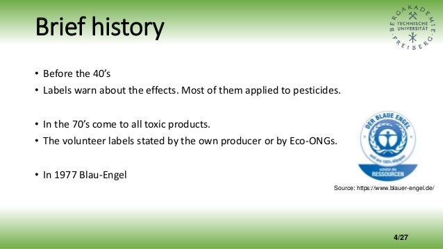 Brief history • Before the 40's • Labels warn about the effects. Most of them applied to pesticides. • In the 70's come to...