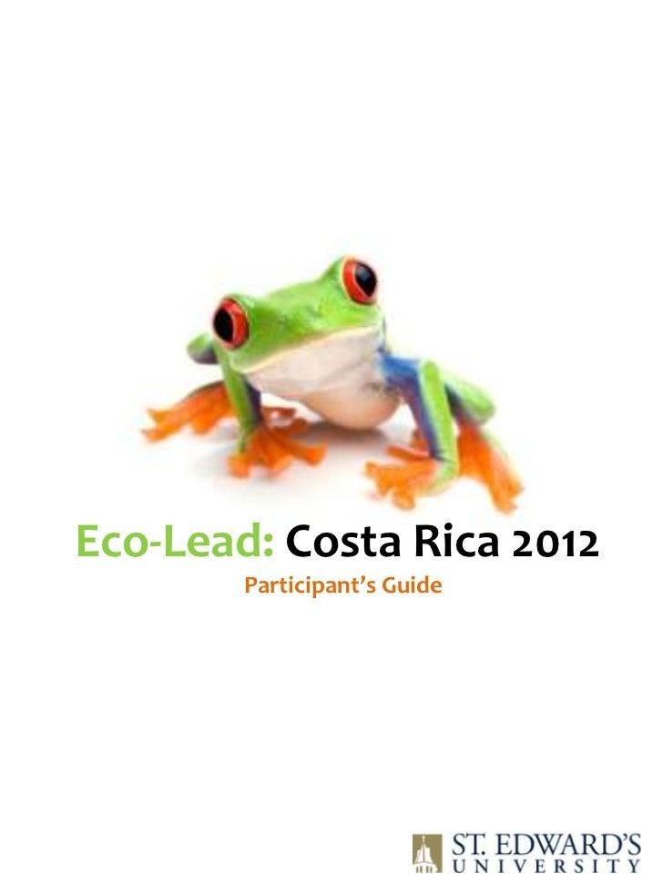 Eco-Lead: Costa Rica 2012        Participant's Guide