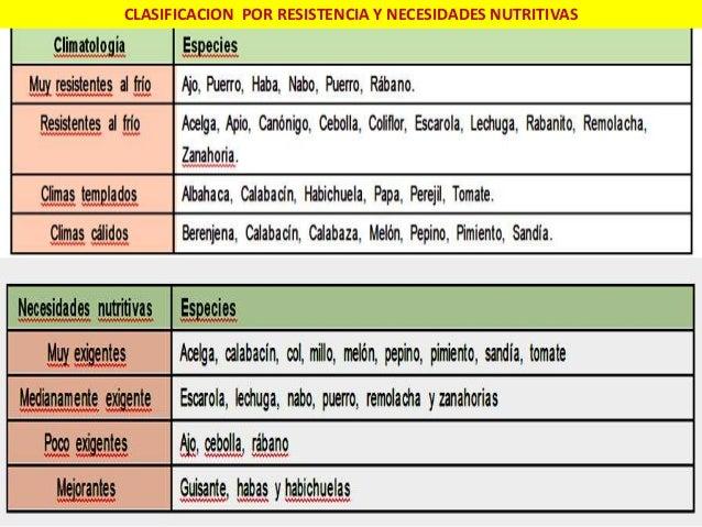 CLASIFICACION POR RESISTENCIA Y NECESIDADES NUTRITIVAS